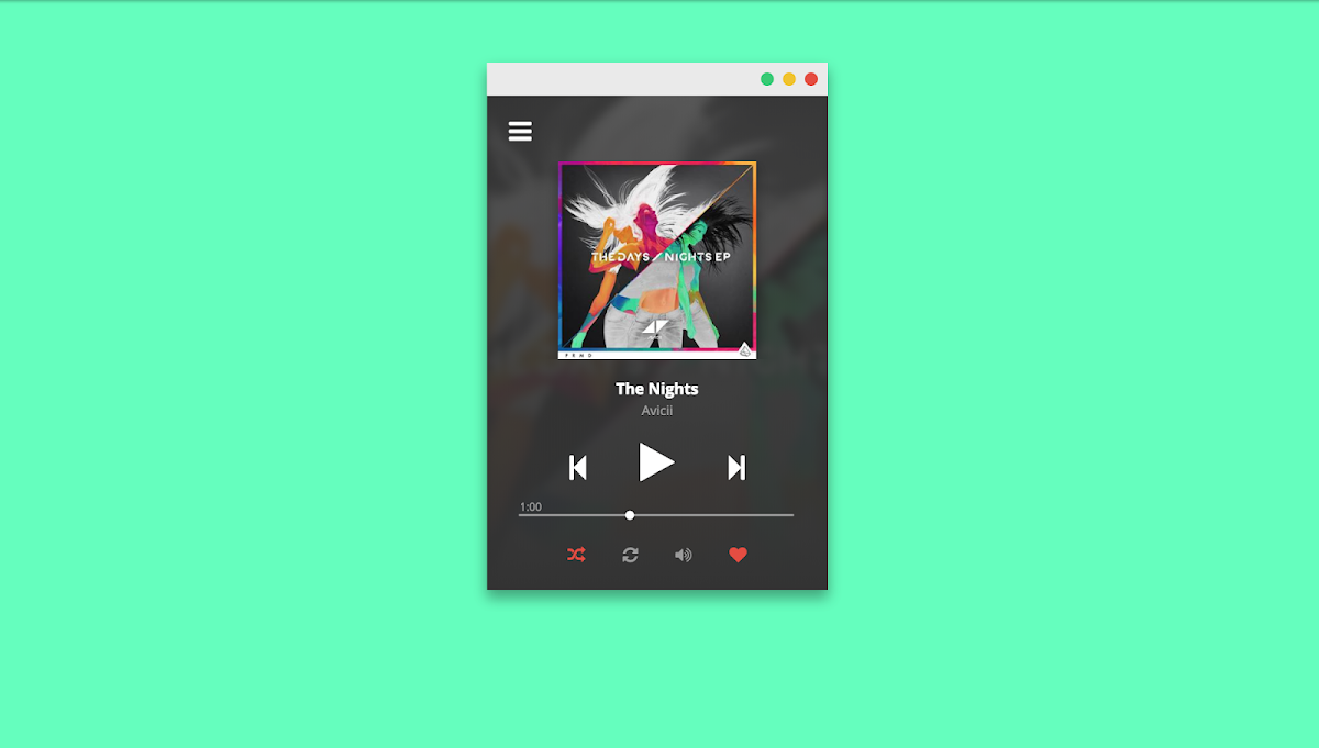 Playing around with a music player mockup