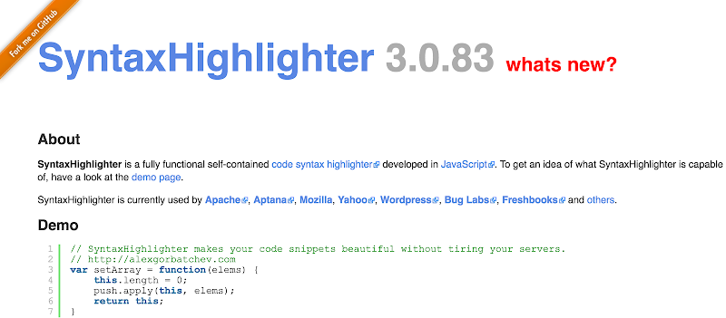 List all top best Javascript Syntax Highlighters framework collections 2