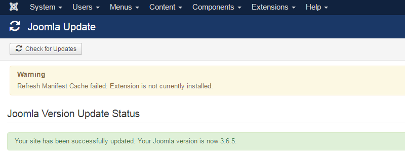 Joomla 3 - Refresh Manifest Cache failed: Extension is not currently installed 7