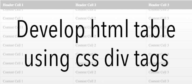 Develop html table using css div tags 7